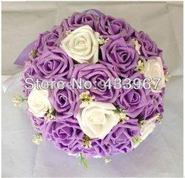 Wholesale Zweifarbige Hand Schaft Bänder Baby Atem Verschönerung Rose Hochzeit Blumen Brautblumensträuße Fotografie Requisiten Simulation Dauert