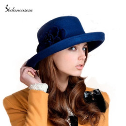 Wholesale-Elegant Fromal Hat Women 100% wool from Australian Larger Brim Hat Solid Felt Headwear Ladies Wool For Felting Hat FW030037