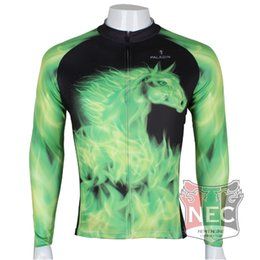 Men's Fleece Thermal Jersey Green horse Long Sleeve Cycling Jersey Cycling clothing Wind break maillot Winter softshell ciclo Bike outfit