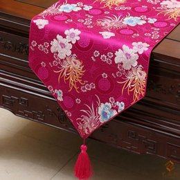 Elegant Luxury Long Christmas Decoration Table Runners Damask Printed Chinese style End Table Cloth Hotel Bed Runner