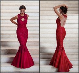 2016 Dark Red Mermaid Long Evening Dresses Keyhole Neck Illusion Back Covered Buttons Satin Trumpet Celebrity Pageant Gowns BA0620