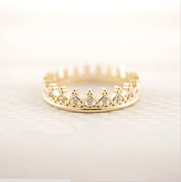 Fashion k-pop Cz Crown Rings Crown imitation diamond ring Rings for women mix color 18K Gold Plated rings