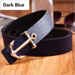 Wholesale New style casual sea anchor logo PU belt for men women luxury designer belt color cinto masculino