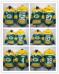 Wholesale 12 Aaron Rodgers Randall Cobb Eddie Lacy Clay Matthews Stitched Football Hoodies Mens Sweatshirts Winter Jacket Embroidery Logos