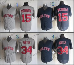 Wholesale boston red sox david ortiz Dustin Pedroia Baseball Jersey Cheap Rugby Jerseys Authentic Stitched Size