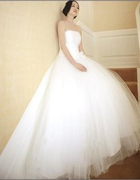 White Tulle Ball Gown Sweetheart Simple Wedding Dress Lace Up 2017 Romantic Wedding Gowns Floor Length