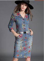 New Spring Summer Women Fashion Jean Printing Dresses Ladies Sexy Slim V Neck One-piece Dress Girls Lovely 3 4 Sleeve Long Denim Skirts