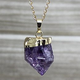 Wholesale 16 quot Raw Amethyst Point Pendant Necklace Amethyst Gemstone Necklace Available in Gold or Silver Electroplated Raw Amethyst BEAUTIFUL