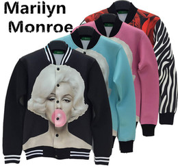 Wholesale Alisister autumn winter women sexy black blue pink marilyn monroe coat printing d jacket flower rose long jacket clothing