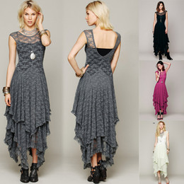 Top Quality Women Boho People Hippie Style Asymmetrical Embroidery Sheer Lace Dress Double Layered Ruffled Trimming Long Dress (No Lining)