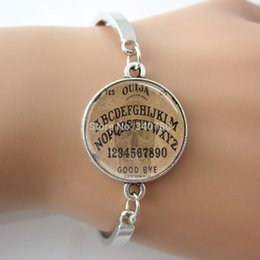 Wholesale Ouija Board Bangle Spirit Board Goth Style Halloween A B C alphabet Number Art Picture Glass Dome Bracelet jewelry GL010