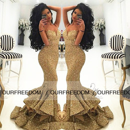 2019 Gold Sequins Mermaid Prom Dresses Spaghetti Sweetheart Neck Long Side Slit Formal Evening Gown Skirt Under Ruffles Custom Made Dresses