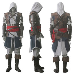 Wholesale Assassin s Creed IV Black Flag Edward Kenway Cosplay Costume Whole Set Custom Made Express Shipping