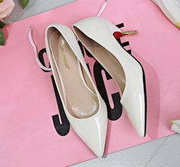 Wholesale Fashion women High Heels pointe toes PU Patent Leather Shoes solid spring fall summer dress shoes kitten heel pumps gift green drop shipping