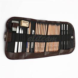 Wholesale Newest Originanl Pro Sketch Pencils Charcoal Extender Eraser Paper Pen Cutter Drawing Art Supply Set Bag order lt no tra