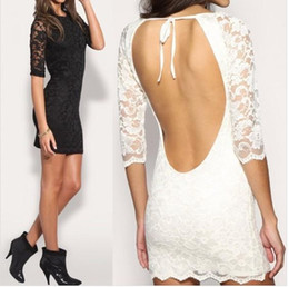 Dresses for Pregnant Women Promotion Casual Dresses Black Pregnant 2015 New Party Dress Summer Half Sleeve Backless Sexy Lace Women Short