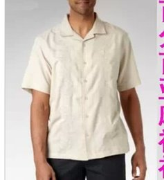 Wholesale-Sale! Plus Size Men Summer Clothing Men's Large Size Linen Short-Sleeved Shirt Chest Between 126-162cm Free Shipping