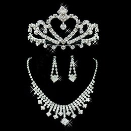 2019 Bridal Jewelry Wedding Bridal Rhinestone Accessories Necklace and Earring Ear Stud Style Sets Silver Plated New Without Tags