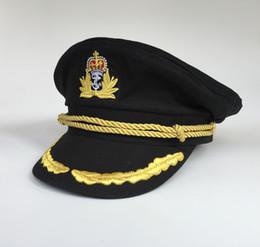 Wholesale Yachting Cap Yacht Captain Hat Navy Sailor Military Hats Black Party Hats Costume Uniform