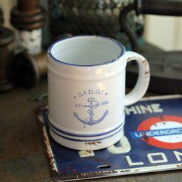 Wholesale Enamel anchor coffee cup glass cup zakka kg