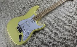 Wholesale high quality standard stratocaster guitar yellow groove scallop maple fingerboard chinese st electric guitar strat