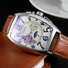 Wholesale-2015 New Sewor Brand Clock Classic Leather Skeleton Men Mechanical Watch Fashion Automatic Mechanical Wristwatch Free Ship