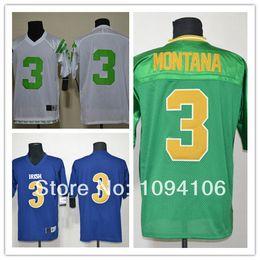 Wholesale Factory Outlet Cheap Joe Montana Green Blue White Ncaa Notre Dame Fighting Irish Authentic Football Jerseys Montana Embroidery Logo Je