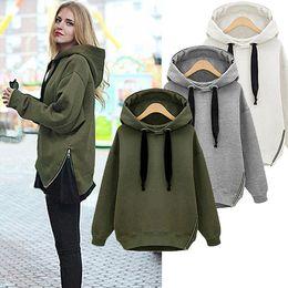 Wholesale Arm Green New Winter Autumn Loose Hooded Jacket Plus Size Thick Velvet Long sleeve Sweatshirt Korean Style Hoodies g pc OXL092901