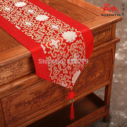 High End Chinese knot Luxury Decorative Festive Table Runners Silk Brocade Rectangle Tablecloth Patchwork Bed Runner L200*W33cm
