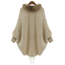 2017 Europe and America high-quality new large size women knitted cardigan sweater coat collar bat sleeve