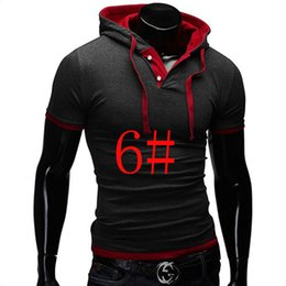 Free Shipping New Arrival New Men's Hooded Casual Slim Fit Stylish Short-Sleeve Shirt clothes ,POLO short sleeve hooded shirt
