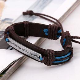 Wholesale Punk jewelry leather bracelet letter dog tag statement bracelets bangle cuffs handmade for women men statement jewelry