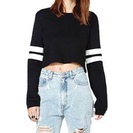 Wholesale-New Harajuku Women Crop Tops PU Leather Patchwork Long Sleeve Casual Loose Pullover Sweatshirt Moleton Feminino Black White