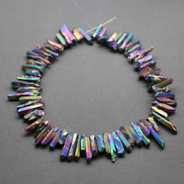 Wholesale 76pc Strand Titanium Rainbow Crystal Quartz Rock Pendant Natural Freeform Spikes Points Drilled Briolettes Inch Women Necklace