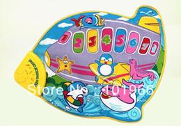 Wholesale-Wholesale 4PCS Lot 59*49cm Airplane Style Musical Baby Play Mat Baby Developmental Crawl Mat Baby GYM Mat Education Toy