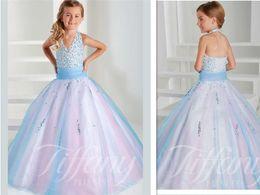 Wholesale Colorful Girls Pageant Dresses Vestidos De Primera Comunion Halter Floor Length Princess Flower Girl Ball Gowns Kids Evening Formal Wears