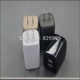 Wholesale 200PCS Hot selling A DUAL USB Port WALL CHARGER ADAPTER for iPhone S S IPAD2 iPods iPad mini USB Wall Charger