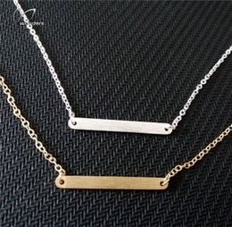 Wholesale 2016 Fashion Jewelry Simple Metal Bar Charm Chain Necklace For Women Gold Silver Plated Stainless Steel Gifts Jewellery