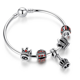 Fashion Charm Bracelet Bangles with Brilliant Cubic Zirconia Crown Silver Charms & Dangles BL083