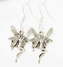 Wholesale New x14 mm Antique Silver Cute Flying Angel Earrings Silver Fish Ear Hook Chandelier E195