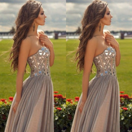 2015 Cheap Gray Chiffon Long Prom Dresses Sweetheart Floor length Sparkly Corset Rhonestone Prom Dresses Formal Evening Party Gowns