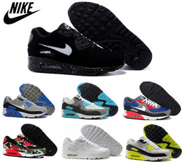 Discount Shoes Run Air Max Authentic Nike Air Max 90 Shoes Men and Women Running Shoes Nike Airmax 90 Black White Max90 Trainers Sport Shoes Eur36-45 Wholesale