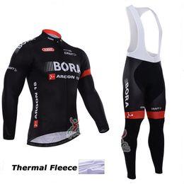 2015 bora argon winter thermal Fleece Ropa Ciclismo hombre long sleeve Pro cycling jersey Bycle bib long pants Sets winter cycling clothing