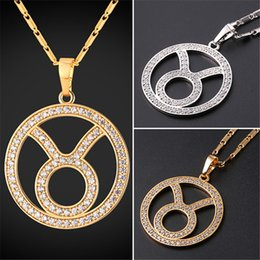 U7 New Zodiac Charms TAURUS Pendant Necklace Simple Women Men Jewelry Gift Rhinestone Gold Platinum Plated Necklace Perfect Gifts P2504
