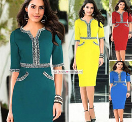 Wholesale Cheap Ladies Work Clothes - 2015 New Hot Summer Dress Office Dress Cheap Tunic Pencil Bodycon Women Dresses Fashion Casual Work Ladies Trendy Clothes OXL140804