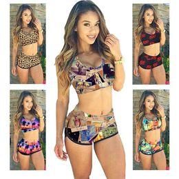 Wholesale PrettyBaby colors bandeau swimsuit swimwear Boxer shorts printing colorful conserve Ms Bikini bathingsuit beachwear