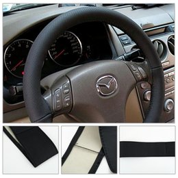 2pcs New DIY Car Steering Wheel Cover With Needles and Thread Black