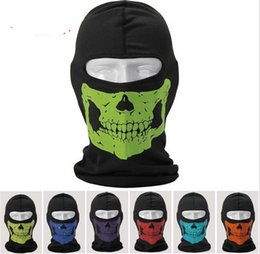 Wholesale 2015 Motorcycle Bike Reflective Skull Balaclava Hood Full Warm Neck Face Cycling Ski Windproof Protector Mask Hat Hats