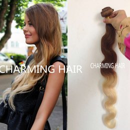 2016 8A Brazilian Virgin Hair Body Wave Ombre Hair Extensions Ombre Brazilian Hair Weave Bundles 3pcs Human Hair Extension Soft