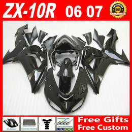 Wholesale 7 gifts Whole glossy black custom fairing kit FOR Kawasaki ninja ZX R ZX10R bodywork ZX R fairings